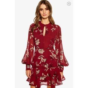 Bardot Tammy Floral Dress Boysenberry Red